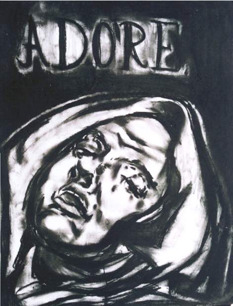 adore, 2003, 70x50cm, charcoal on paper