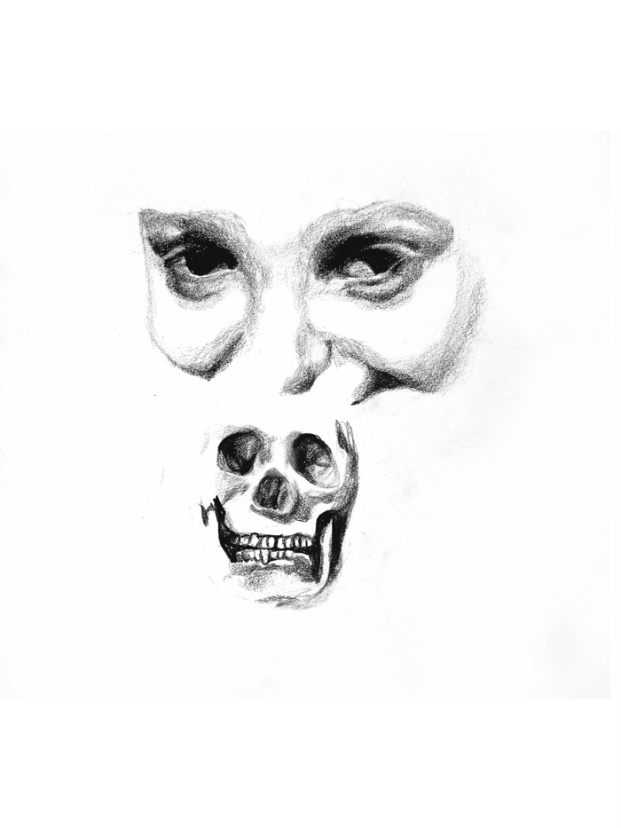 self-portrait with skull, 2001, 28x30cm, pencil and crayon on paper
