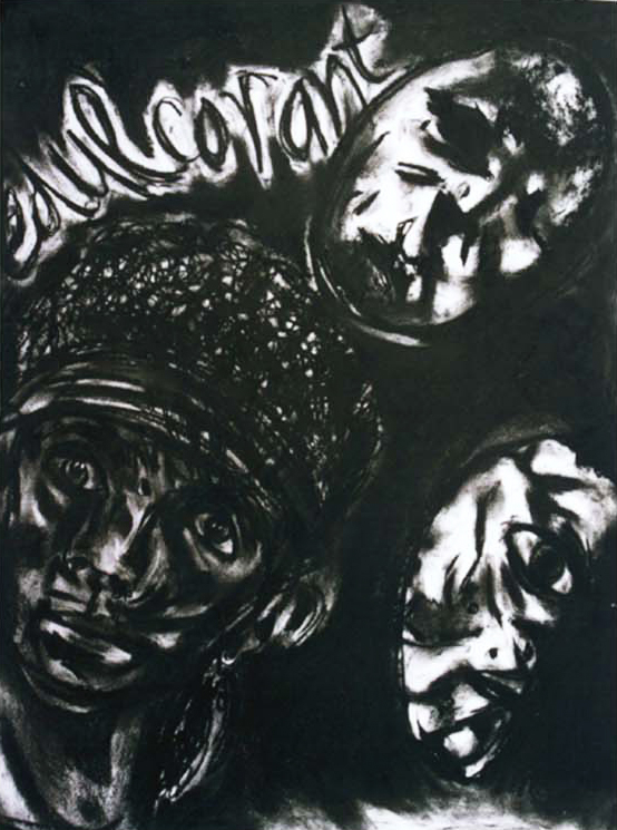 Edulcorant, 2002, 70x50cm, charcoal on paper
