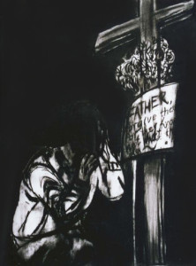 Father bless me for I 've sinned, 2003, 70x50cm, charcoal on paper
