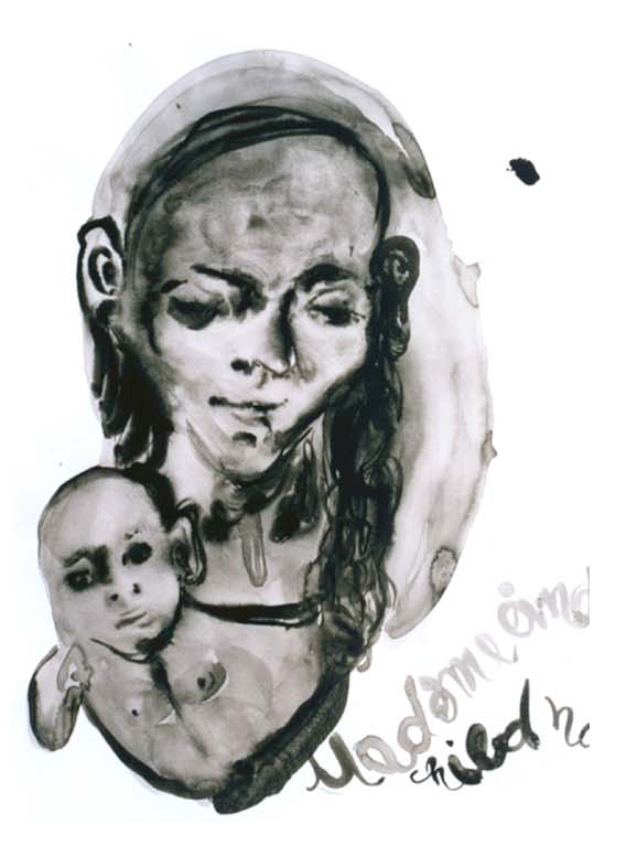 Madonna and child, 2003, 70x50cm, watercolor on paper