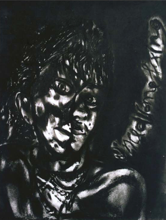 Need some fixing, 2002, 70x50cm, charcoal on paper