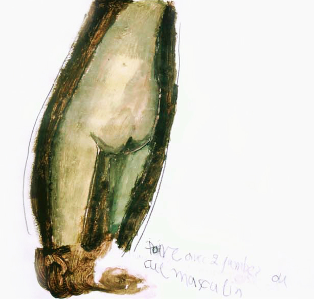 Poire avec deux jambes ou cul masculin, 2002, 30x30cm, crayon and acrylics on paper