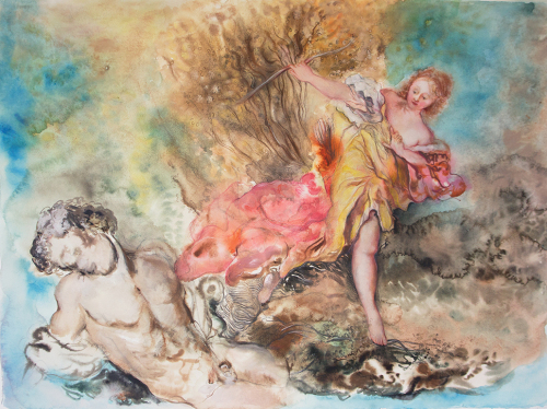 Be a bee (after François Boucher) 2014, 57x77cm, watercolor, gouache, pencil, colored pencil on paper